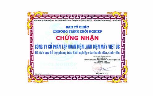 12 - Chung nhan dong gop tich cuc phong trao khoi nghiep