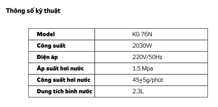 Thông số kỹ thuật bàn là hơi nước đứng KG 756