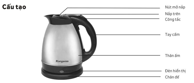 Cấu tạo sản phẩm Bình đun nước siêu tốc KG 335