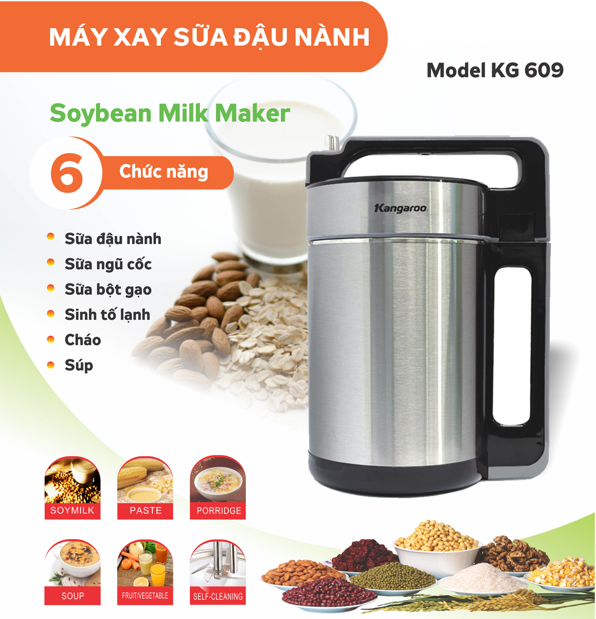 Máy xay sữa đậu nành Kangaroo KG 609