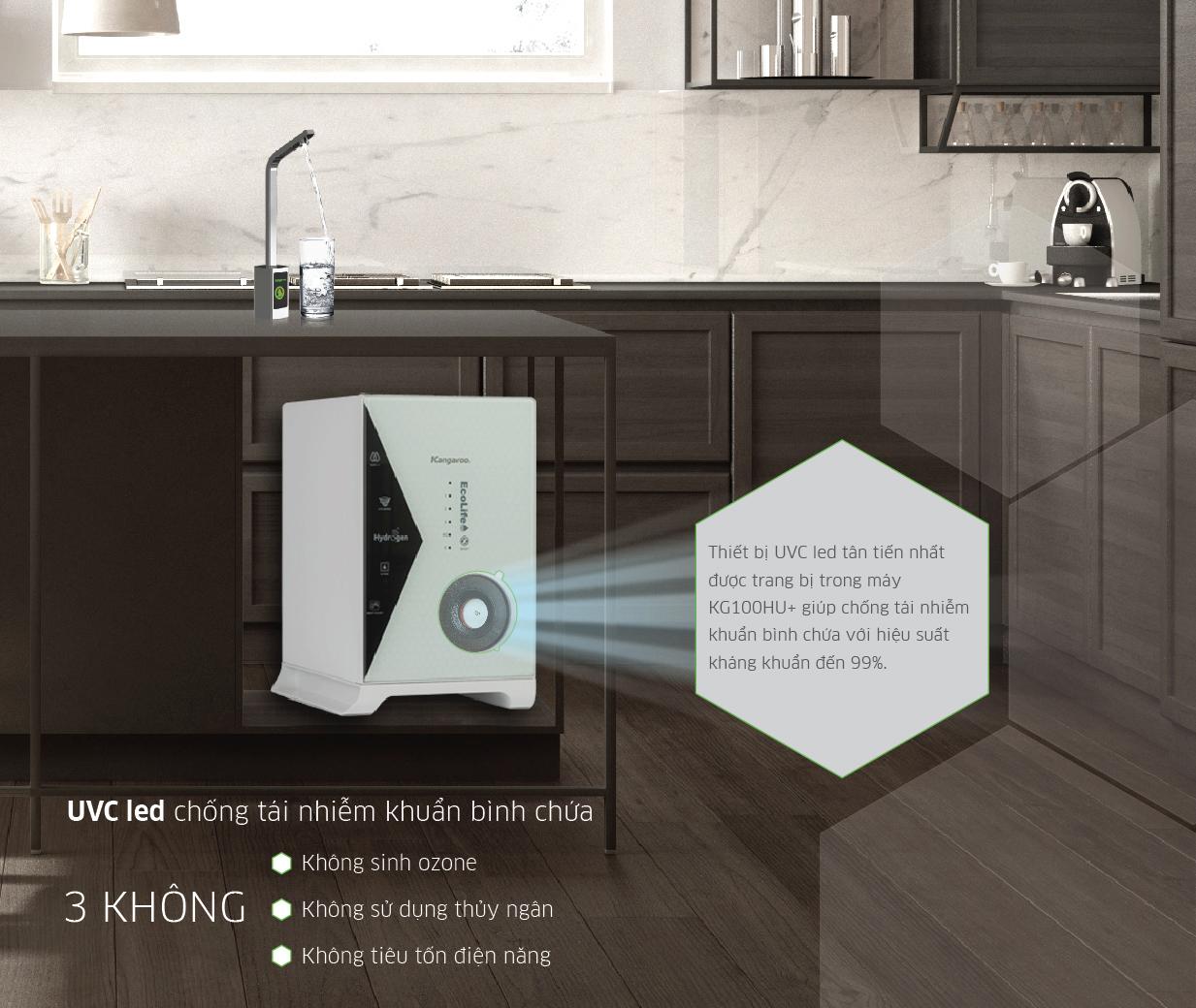 Hệ thống UVC LED chống tái nhiễm khuẩn bình chứa Kangaroo KG100HU