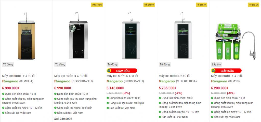 Máy lọc nước có giá từ 7 - 9 triệu đồng ( giá tham khảo tại Điện Máy Xanh)