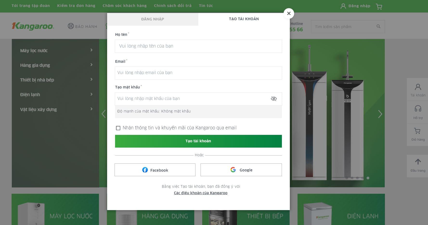 Tặng voucher 500K cùng triệu ưu đãi cho tài khoản đăng ký mới