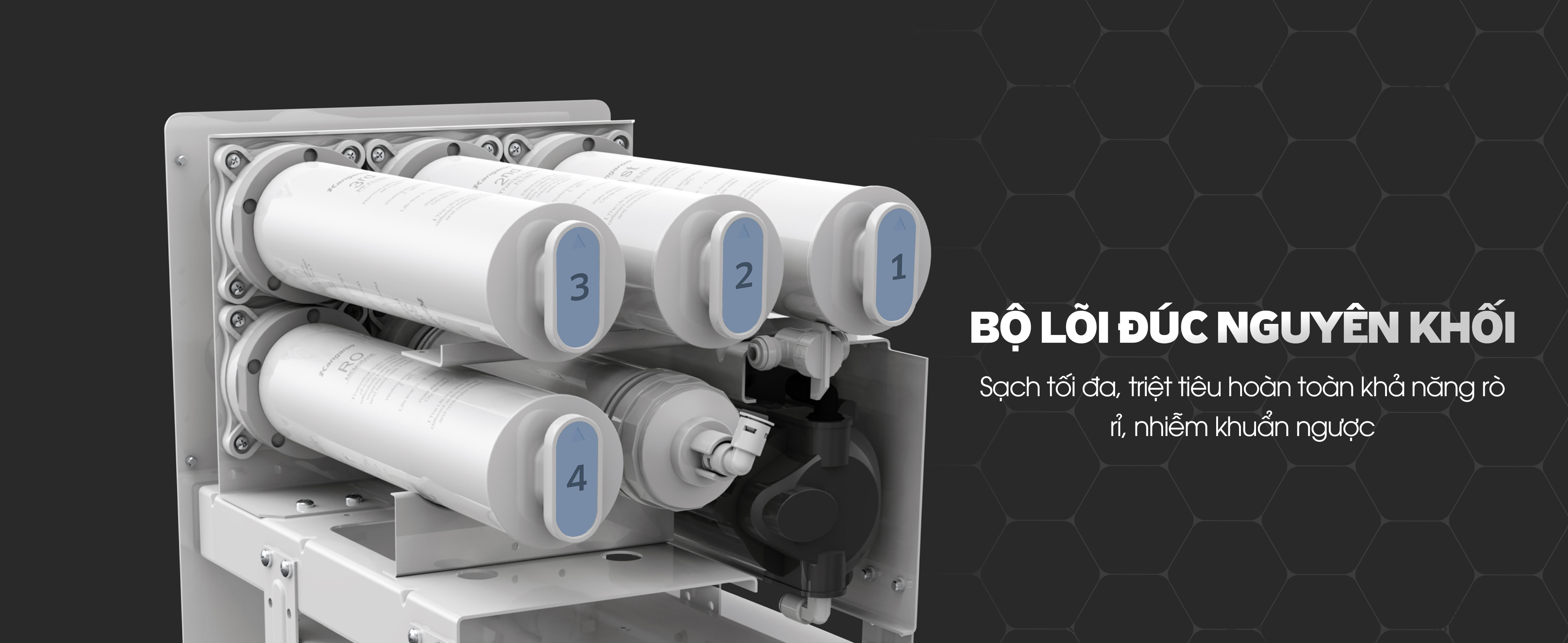 Máy lọc nước Hydrogen Lux với lõi đúc nguyên khối 5in1